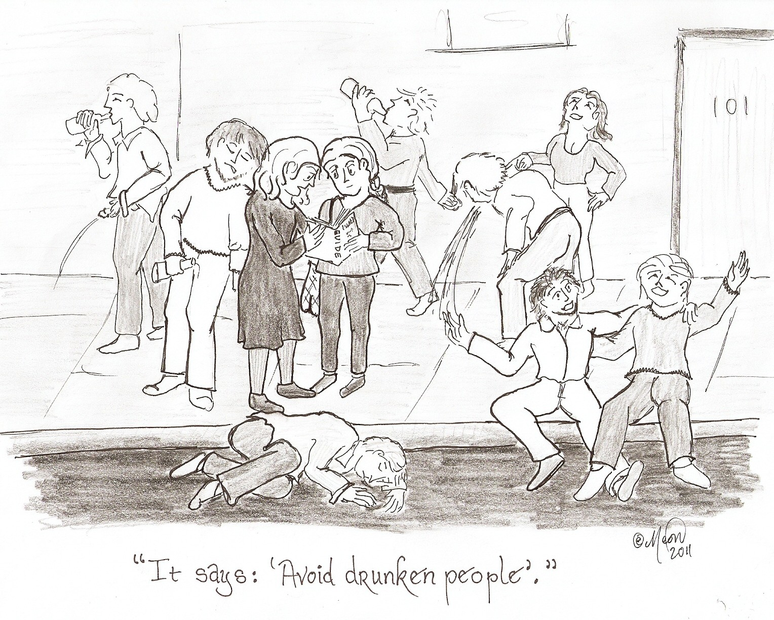 avoid drunk people cartoon